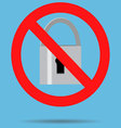 Ban lock padlock sign icon vector image vector image