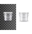 bucket plastic food package container mockup vector image vector image