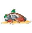 cartoon character sea turtles sticker vector image
