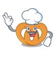 chef pretzel character cartoon style vector image vector image
