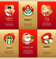 christmas greeting cards set with gold and red vector image vector image