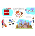 colorful travel to europe concept vector image vector image