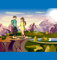 couple hiking man woman traveler on mountain vector image vector image