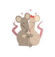 couple of cute mice in love embracing each other vector image