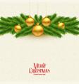 elegant christmas tree leaves and golden balls vector image
