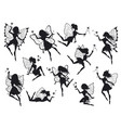 fairy silhouettes magical fairies with wings vector image