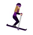 female athlete practicing isolated ski icon vector image