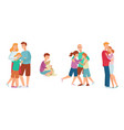 flat family characters hugging icon set vector image