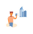 flat guy designer developer hold smartphone vector image