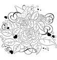 Floral bird sketch background vector image vector image