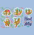 floral sloths sticker set vector image vector image