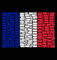 french flag pattern of building brick items vector image