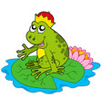 frog prince on water lily vector image