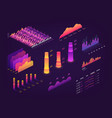 futuristic 3d isometric data graphic business vector image