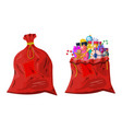 gift boxes in cloth bag vector image vector image