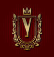 golden royal coat of arms with y monogram vector image vector image
