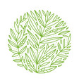 green foliage botanical round sketch of vector image vector image