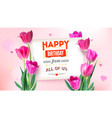 happy birthday floral poster with lettering design vector image vector image