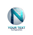 initial letter n logo template colored silver vector image vector image