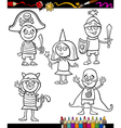 kids in costumes set coloring page vector image vector image