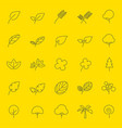 leaf and tree line icons vector image vector image