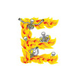 letter e hellish flames and sinners font fiery vector image vector image