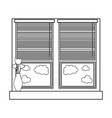 line window with blind curtain and fower inside vector image