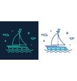 Linear style icon of a boat vector image vector image