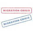 migration crisis textile stamps vector image vector image