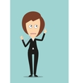 Mute business woman with attention gesture vector image