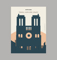notre dame paris france vintage style landmark vector image