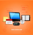 orange time management realistic vector image vector image