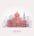 outline bern skyline with landmarks vector image vector image