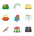 Play in yard icons set cartoon style vector image vector image