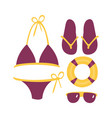 purple swimsuit with beach accessories beach and vector image vector image
