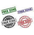 scratched textured free zone seal stamps vector image vector image