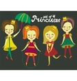 Set of 4 cute colorful princesses vector | Price: 1 Credit (USD $1)