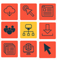 set of 9 internet icons includes save data vector image vector image