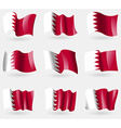 Set of Bahrain flags in the air vector image