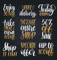 set of handwritten sales phrases vector image