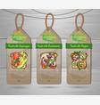set vegan labels with vegetarian toasts menu vector image
