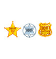 sheriff badges set silver and golden police signs vector image vector image