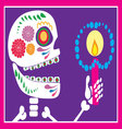 skull of sugar with candle vector image vector image
