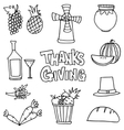 Stock thanksgiving set on doodles vector image vector image