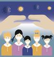 take care coronavirus concept protect kids vector image vector image