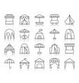 tent simple black line icons set vector image