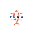 tuna fish logo emblem label seafood icon vector image vector image