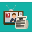 tv retro anchorman news graphic vector image