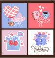 valentine s greeting card set in flat vector image