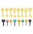 vintage antique and modern keys flat simple icons vector image